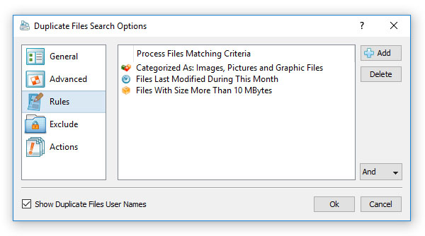 Duplicate Files Search Rules
