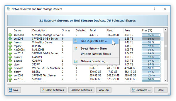 Searching Duplicate Files in Network Servers and NAS Storage Devices