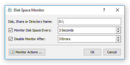 DupScout Server Disk Space Monitor Dialog