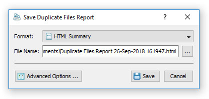 DupScout Save Duplicate Files Search Report